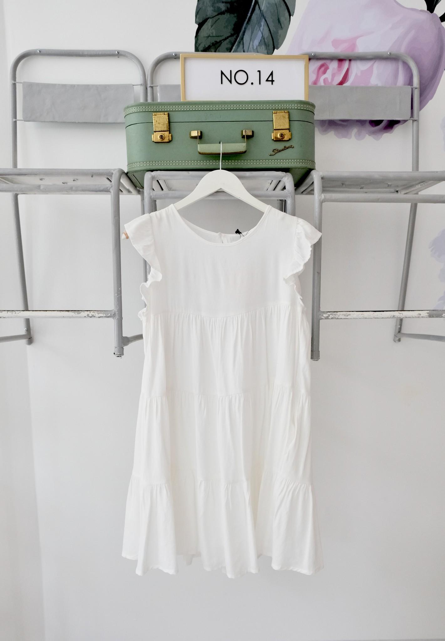 Ruffled Tiered White Dress