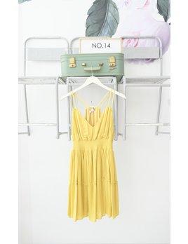 Smocked Waist V Neck Dress