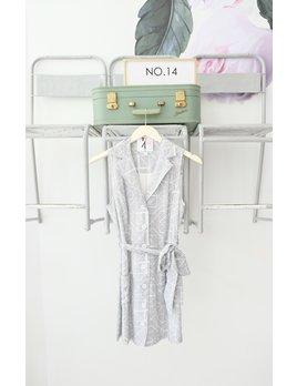 Navy & White Printed Sleeveless Shirtdress