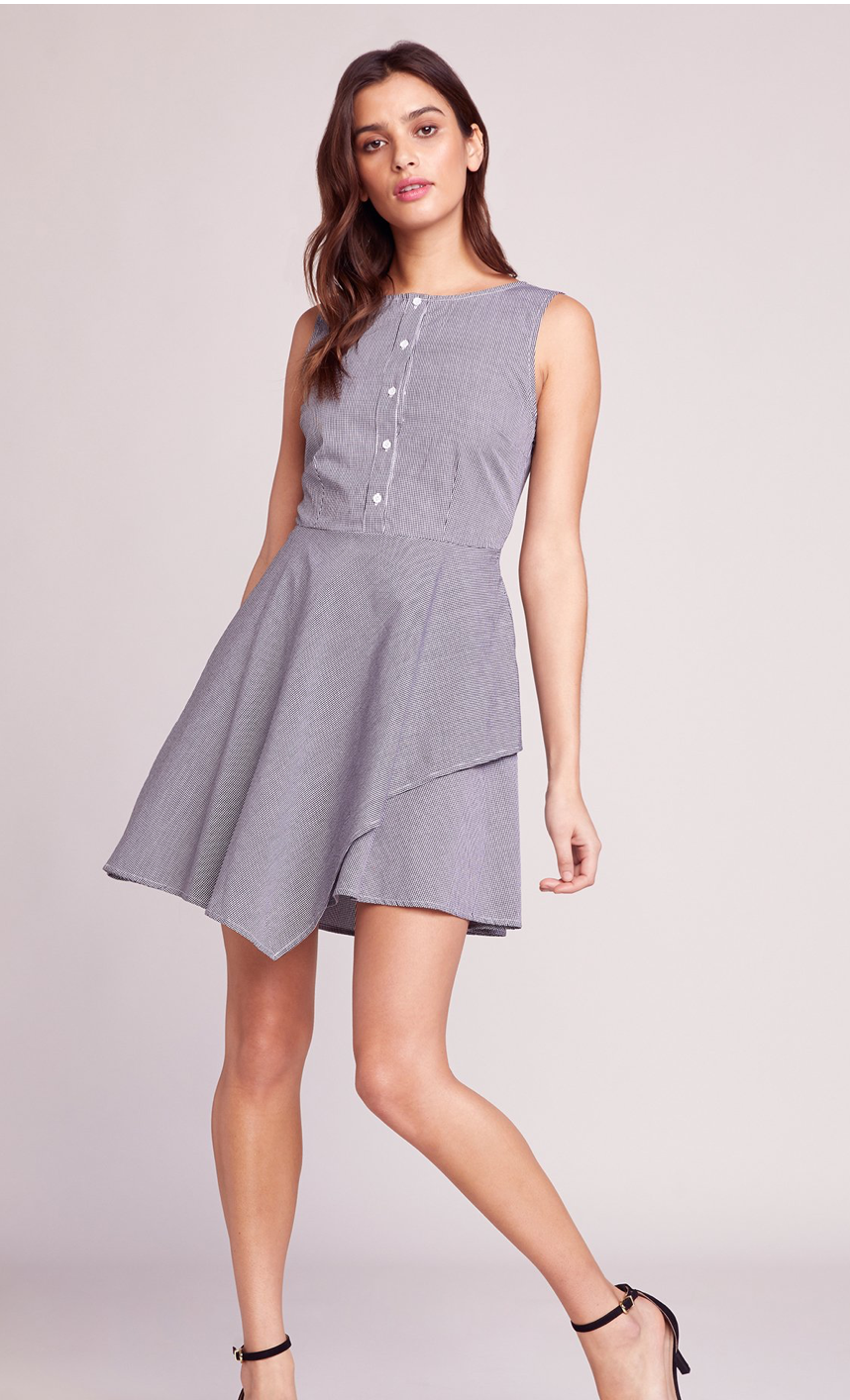 Asymmetrical Hem Gingham Dress