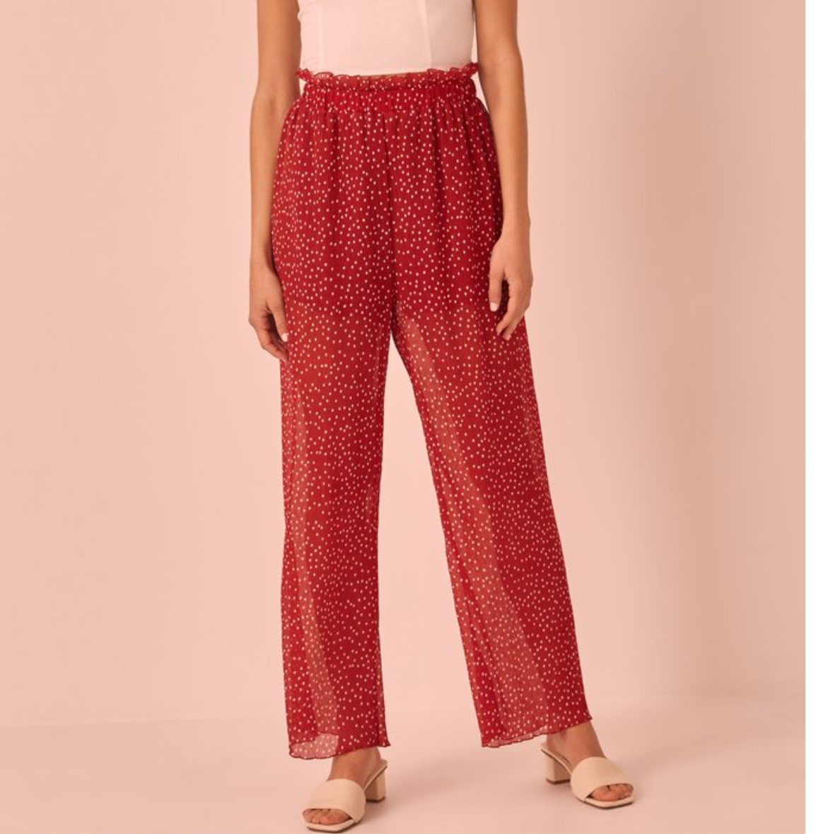 Red & White Polka Dot Plisse Pants