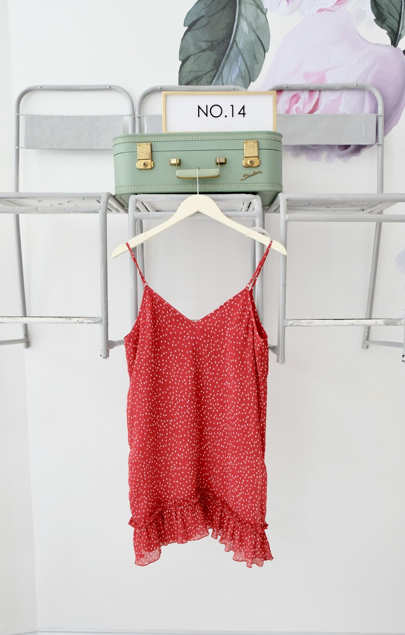 Red & White Polka Dot Plisse Tank Dress