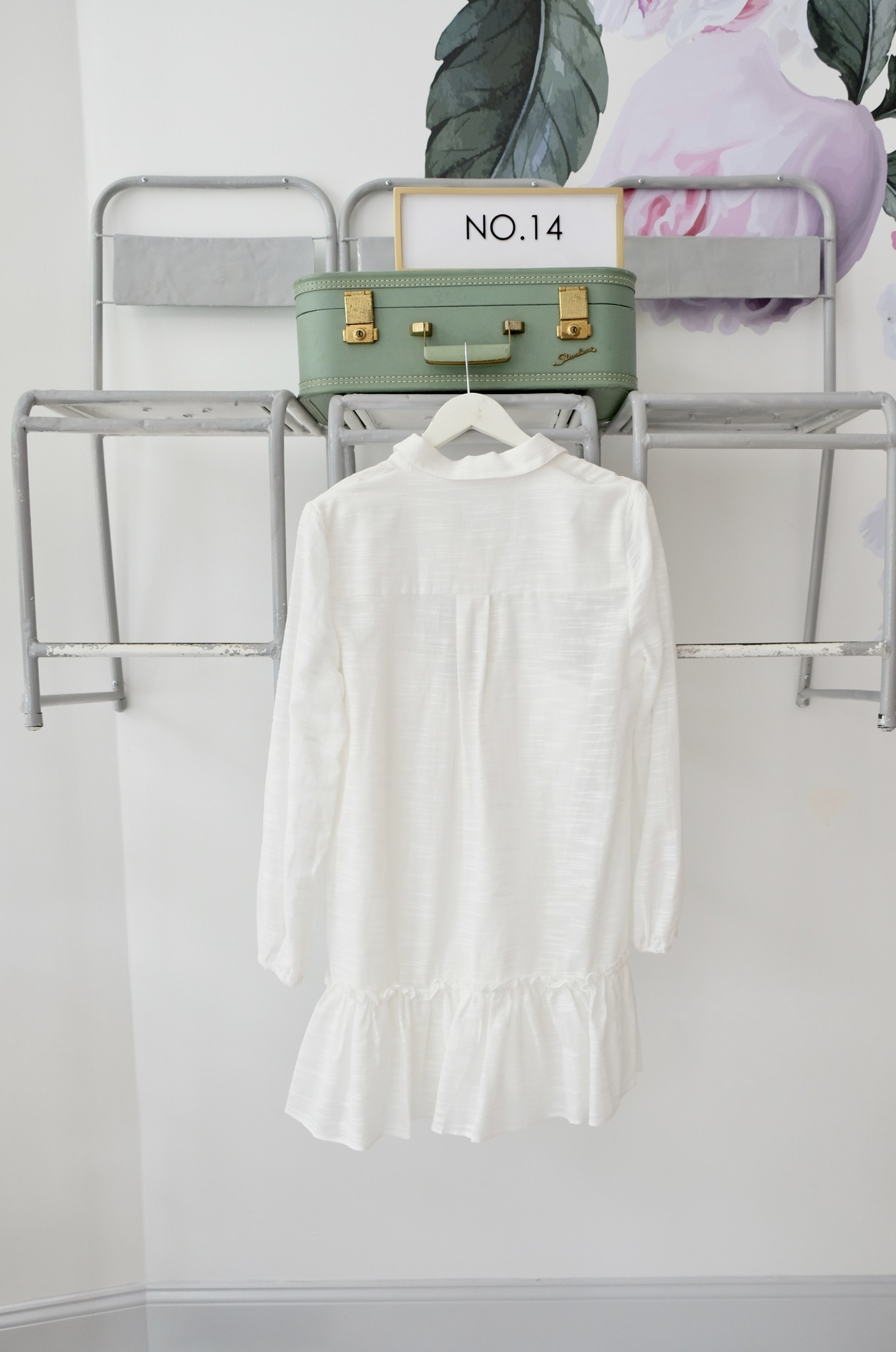 Dropwaist White Long Sleeve Shirtdress