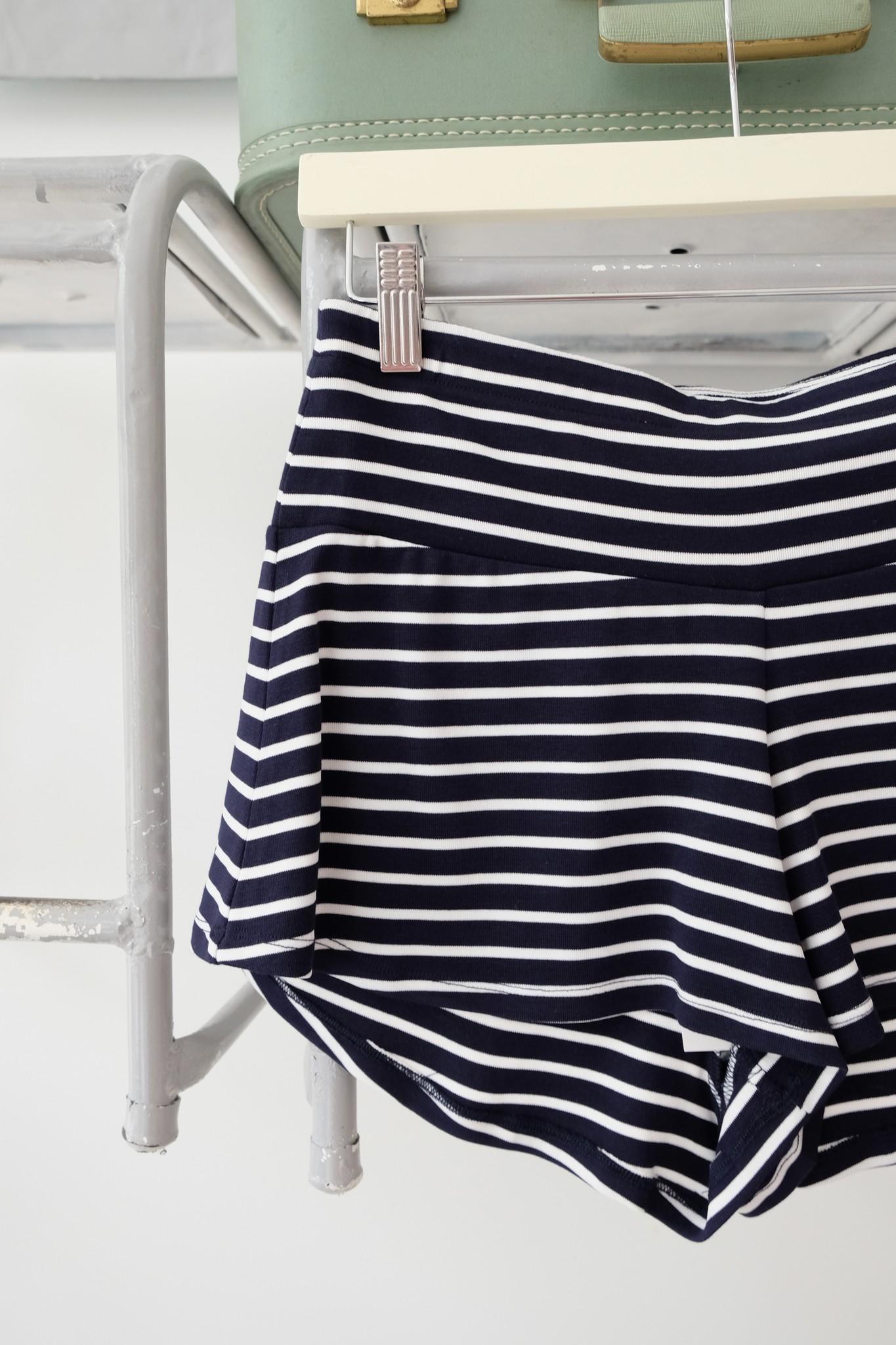 Navy & White Knit Shorts
