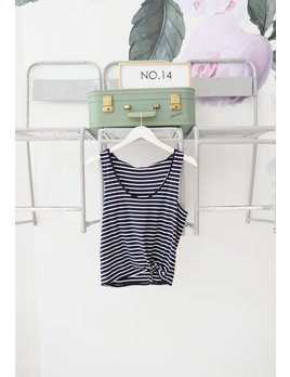Navy & White Knot Striped Top