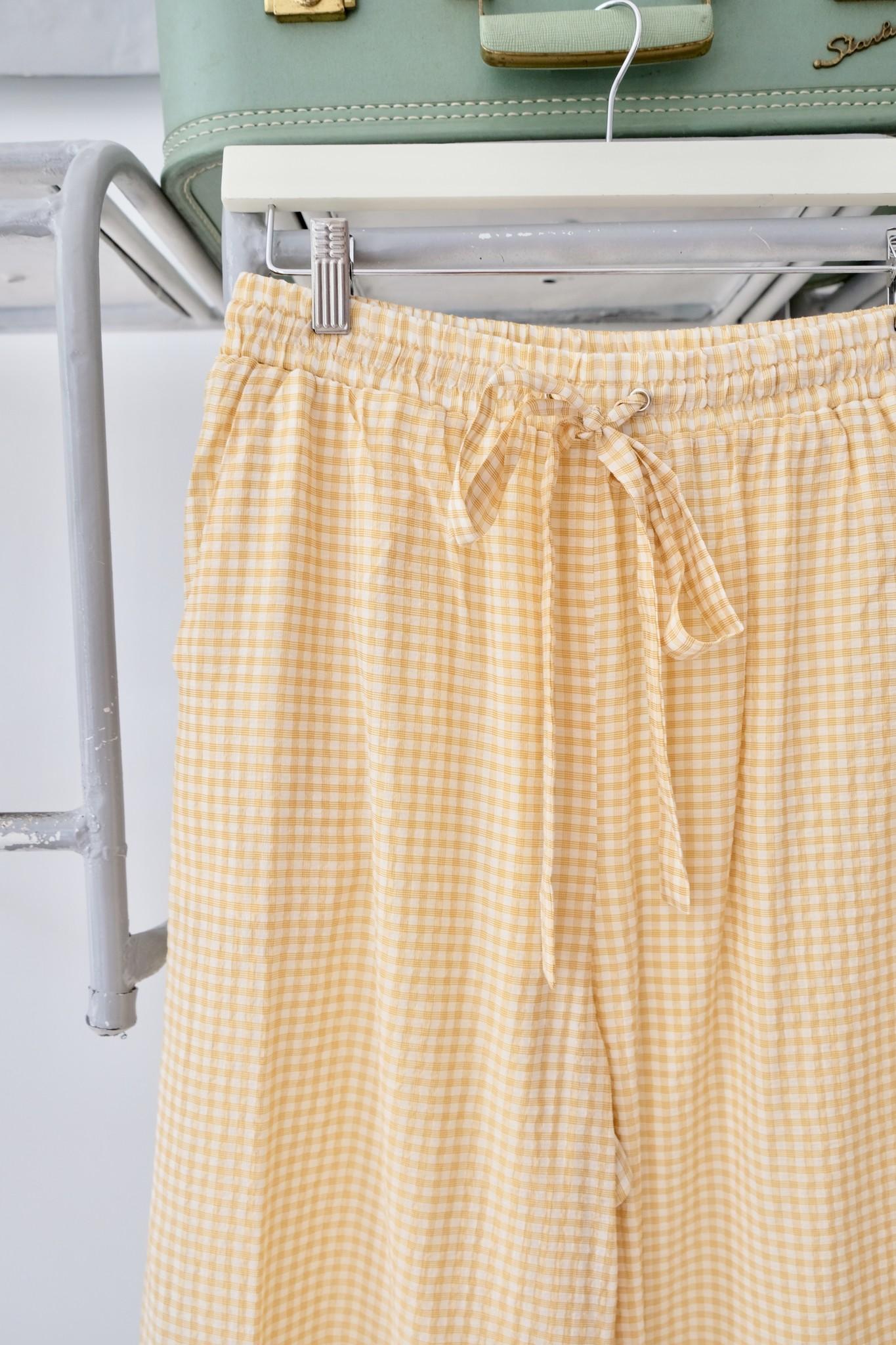 Yellow Check Tie Waist Pant