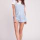 Striped Pocket Overalls