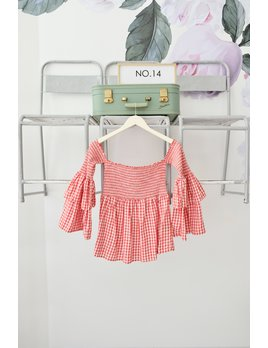 Red Gingham OTS Top