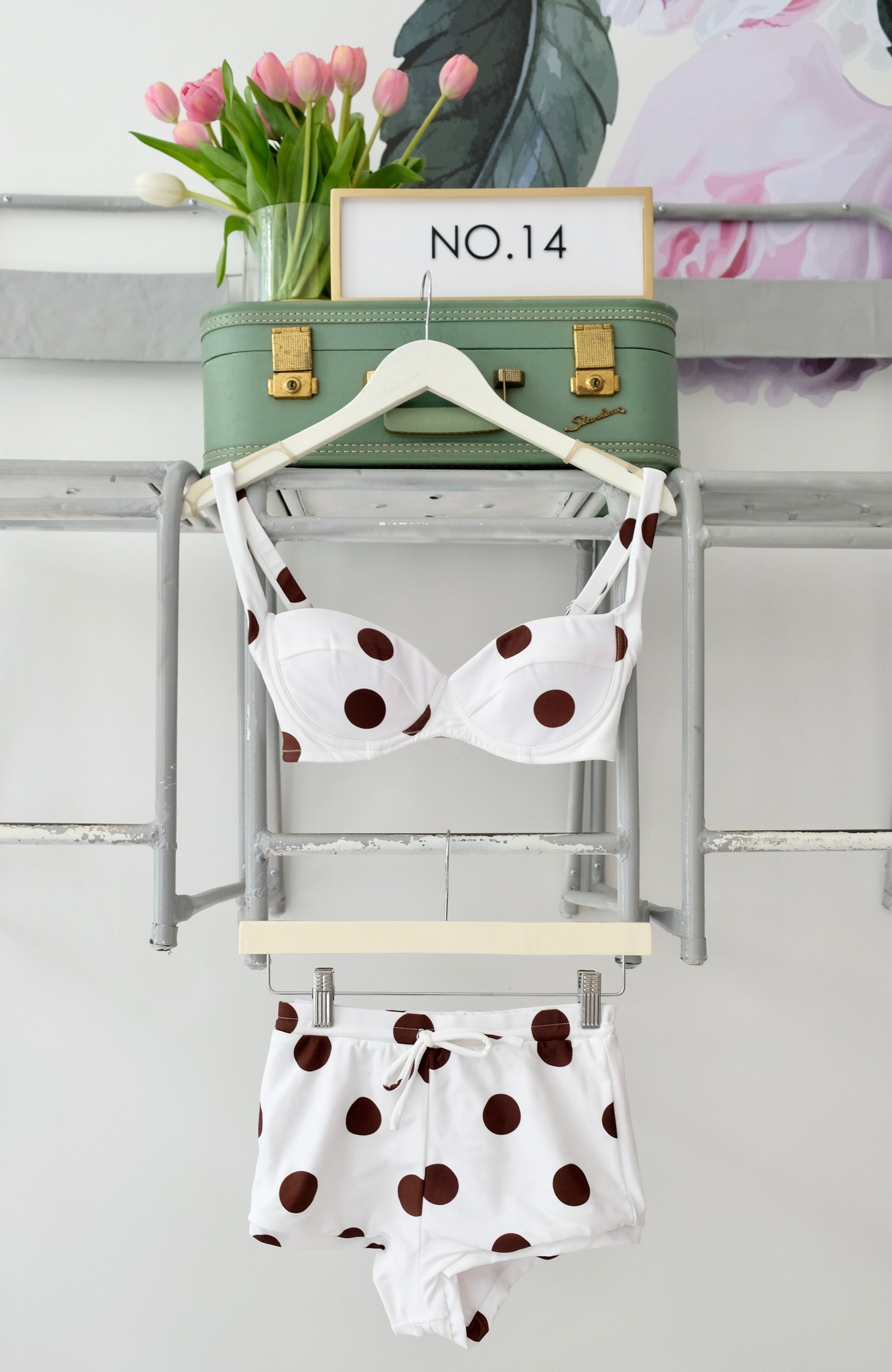 Brown & White Polka Dot Bikini Top