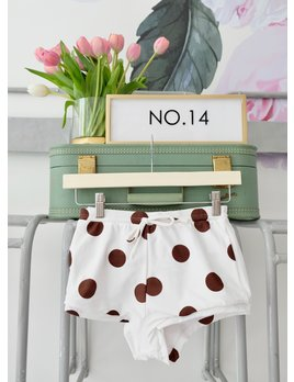 CHARLIE HOLIDAY Brown & White Polka Dot Bikini Bottom