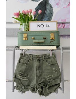 Olive Distressed Denim Shorts