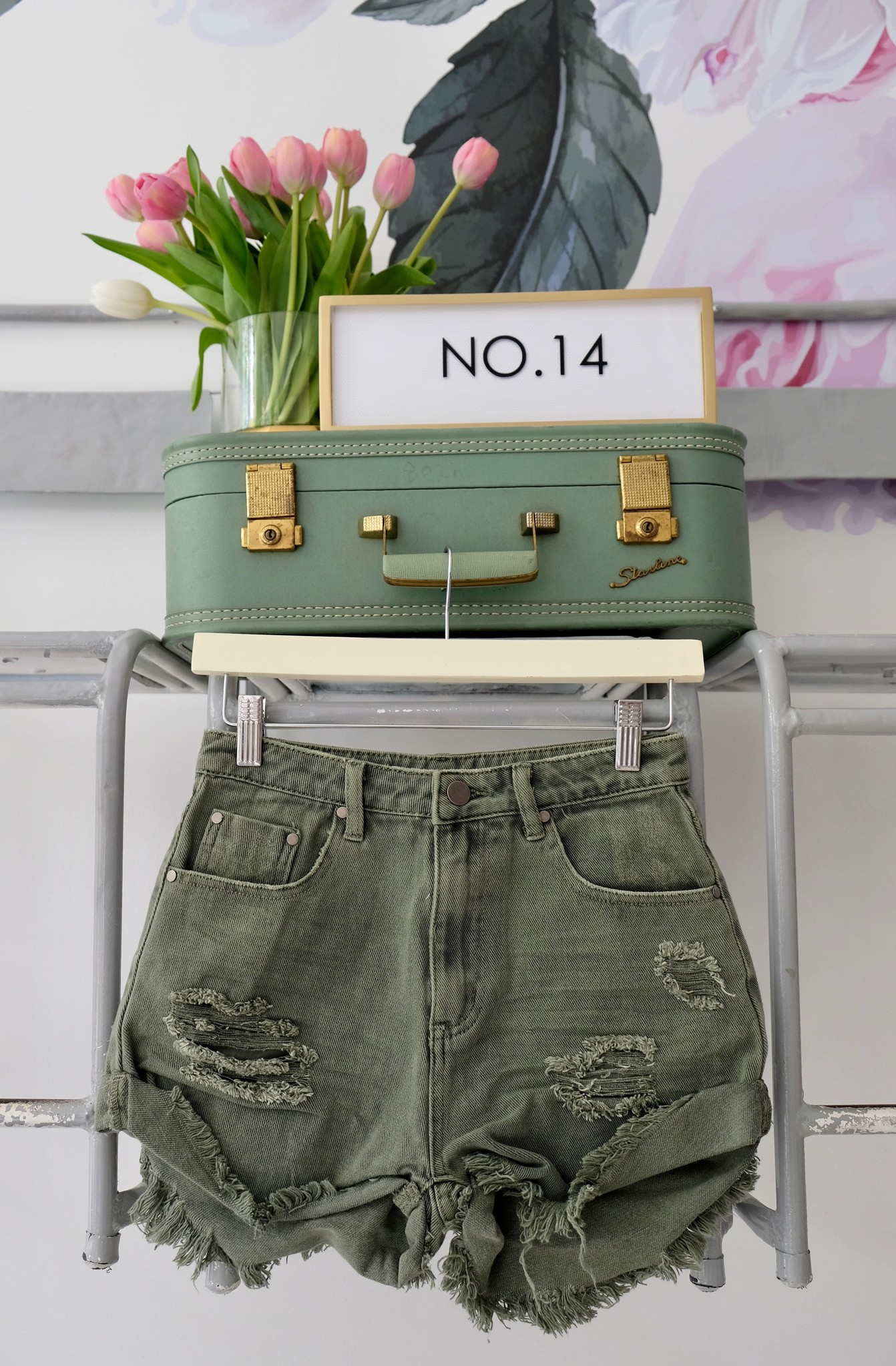 Olive Distressed Denim Shorts