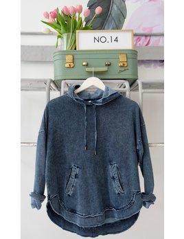 Knit Denim Hooded Pullover