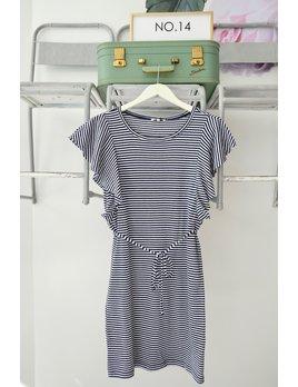 Ruffle Sleeve Striped Dress