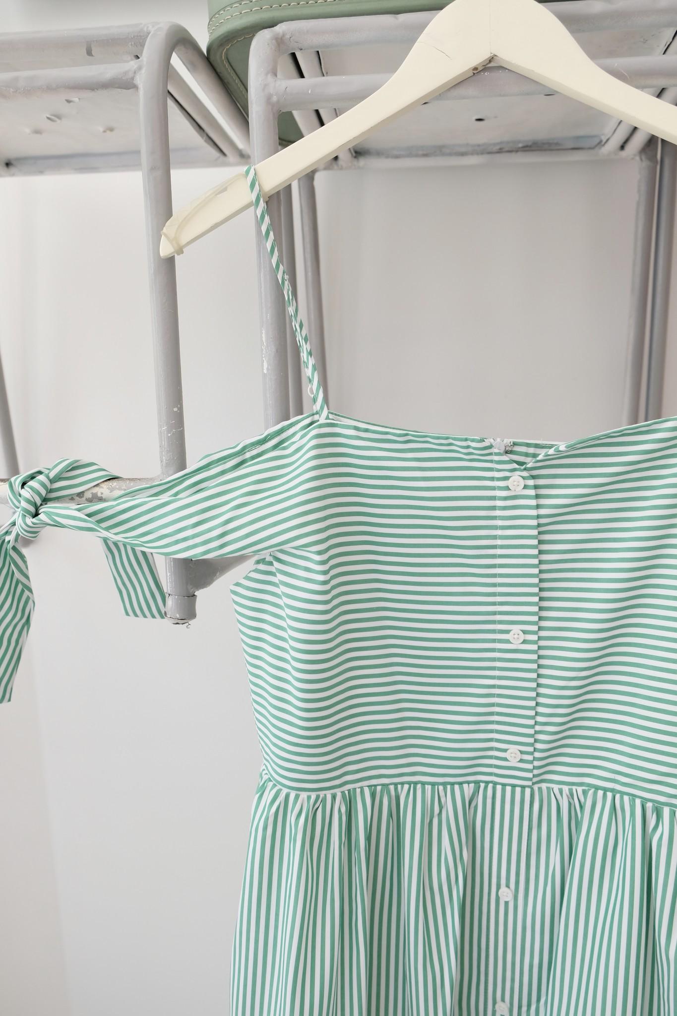 Striped Midi Dress with Tie Sleeve
