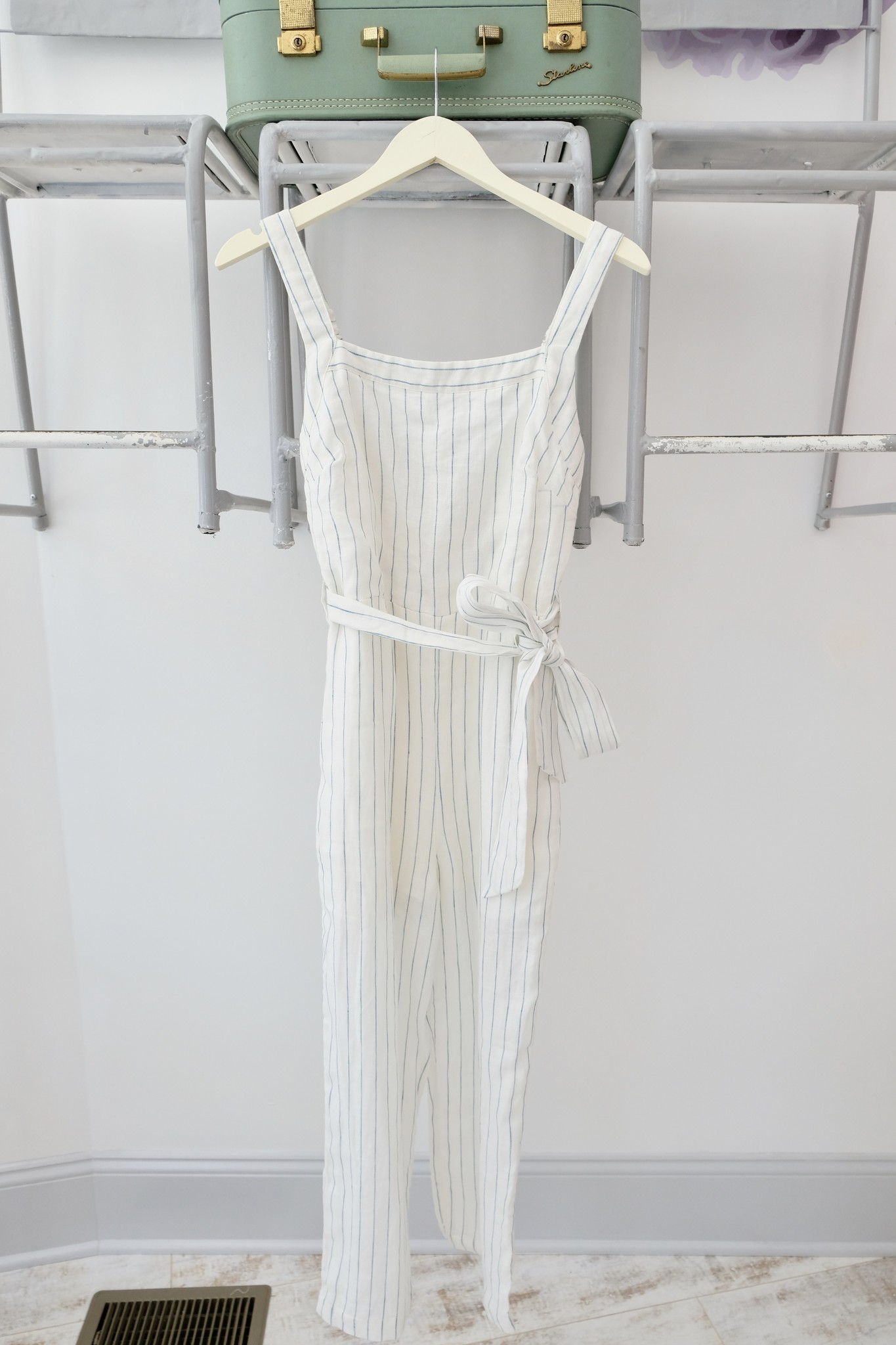 Blue & White Striped Tank Jumpsuit