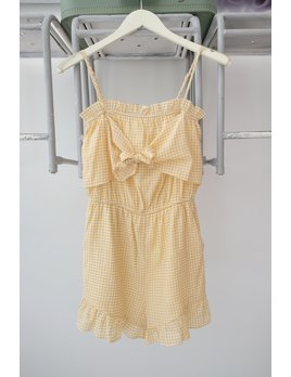 Yellow Check Tie Front Romper