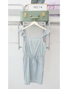 Ruffle Strap Chambray Dress