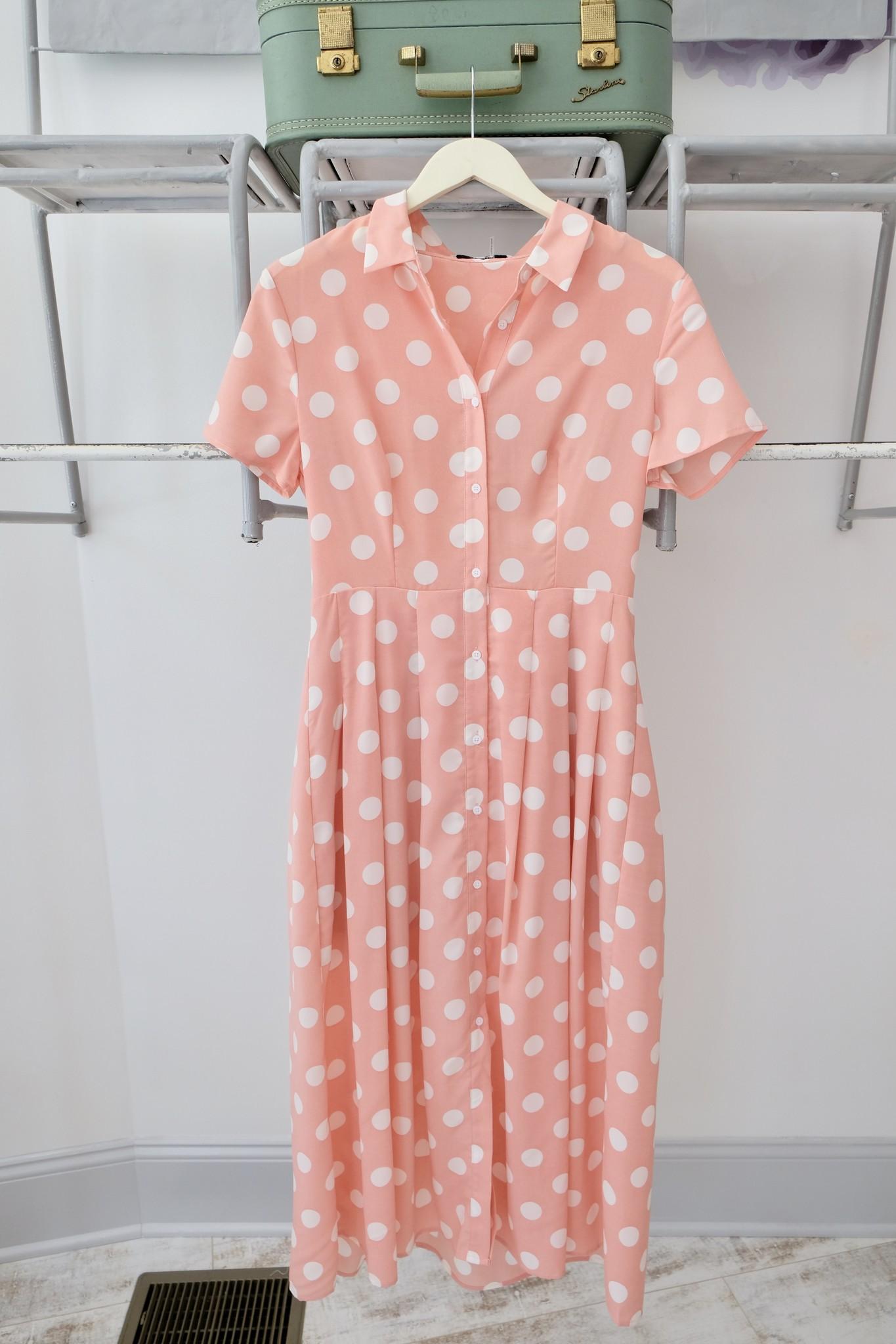 Pink Polka Dot Shirtdress