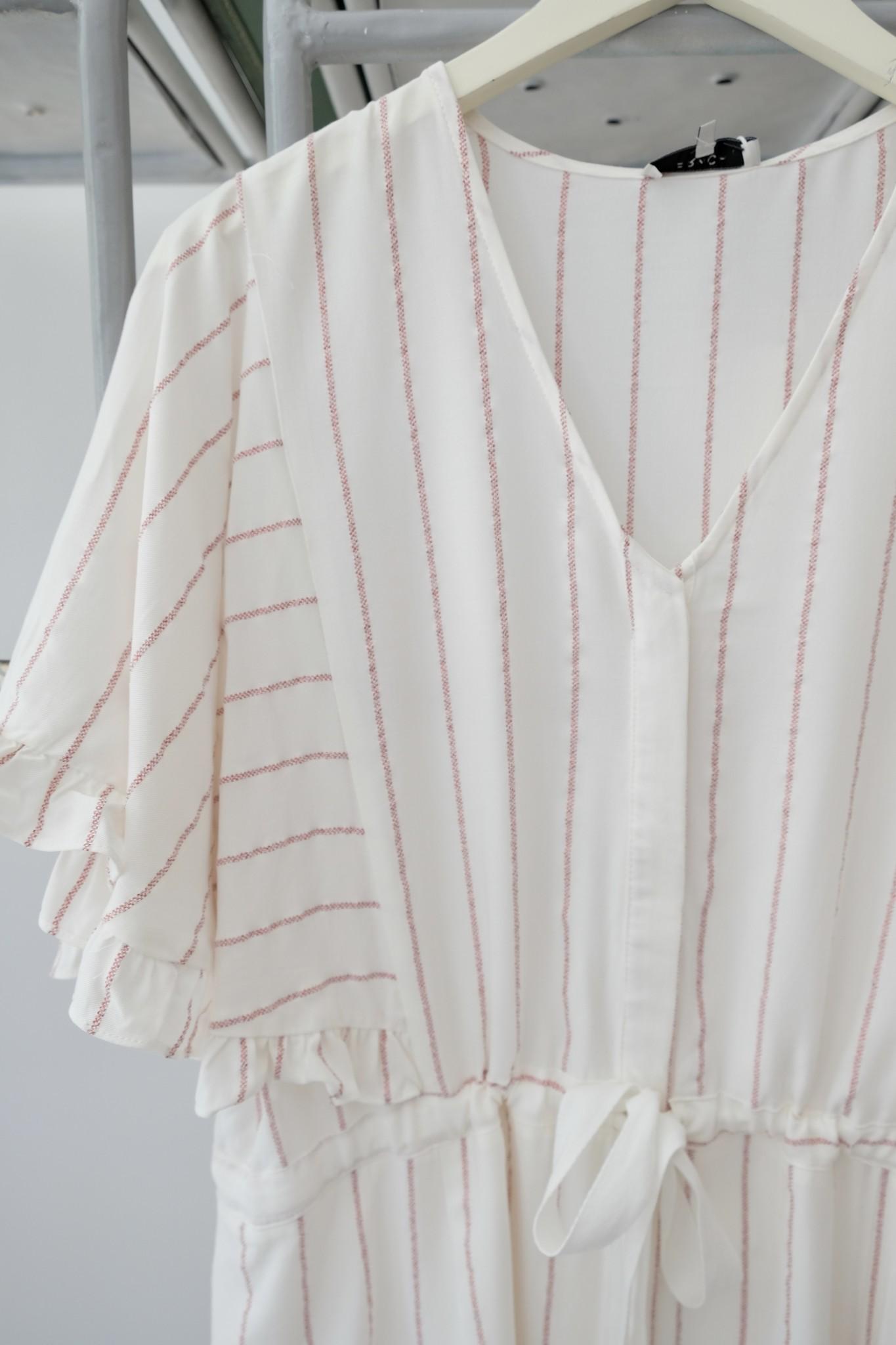 Red & White Striped Flutter Slv Dress