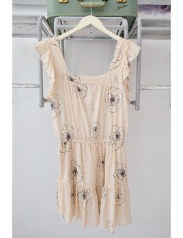 Floral Sketch Ruffle Strap Dress