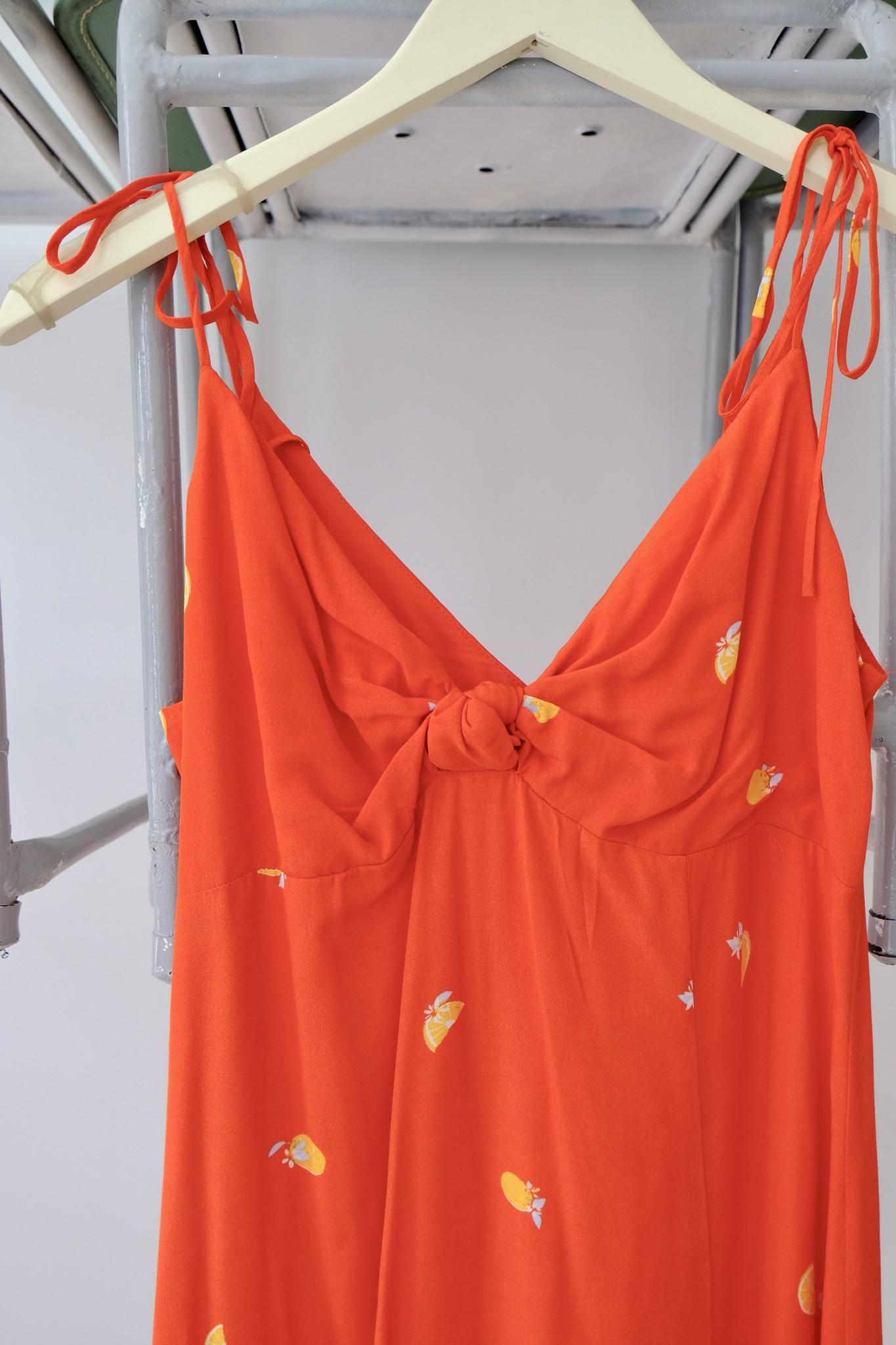 Orange Print Midi Dress