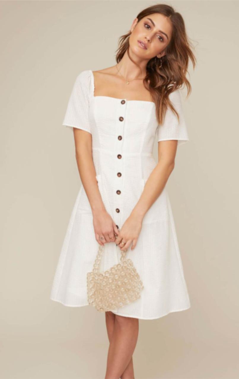 White Seersucker Dress