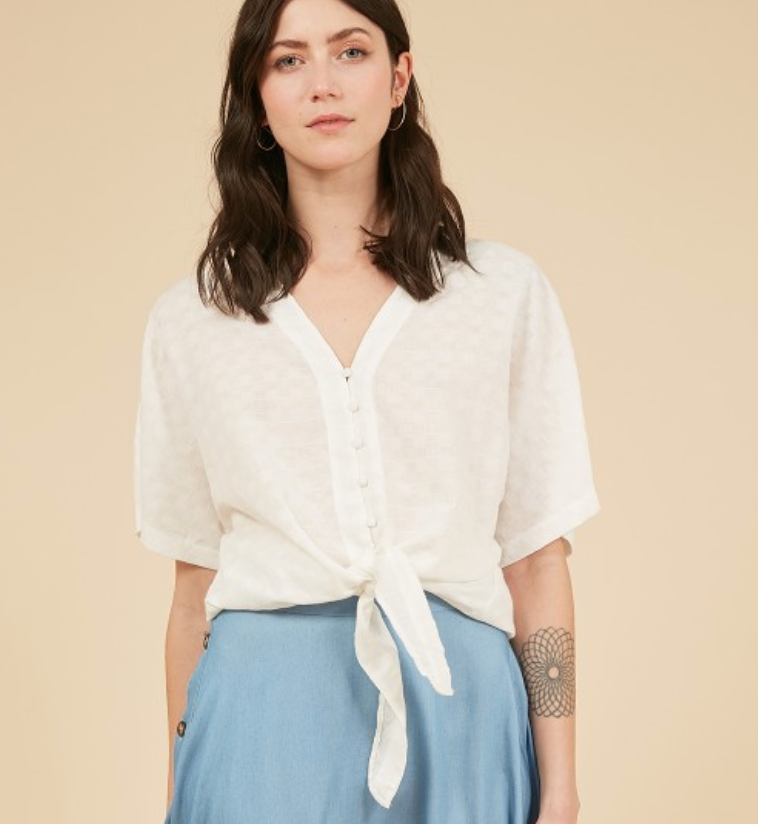 Button Down Tie Front White Top