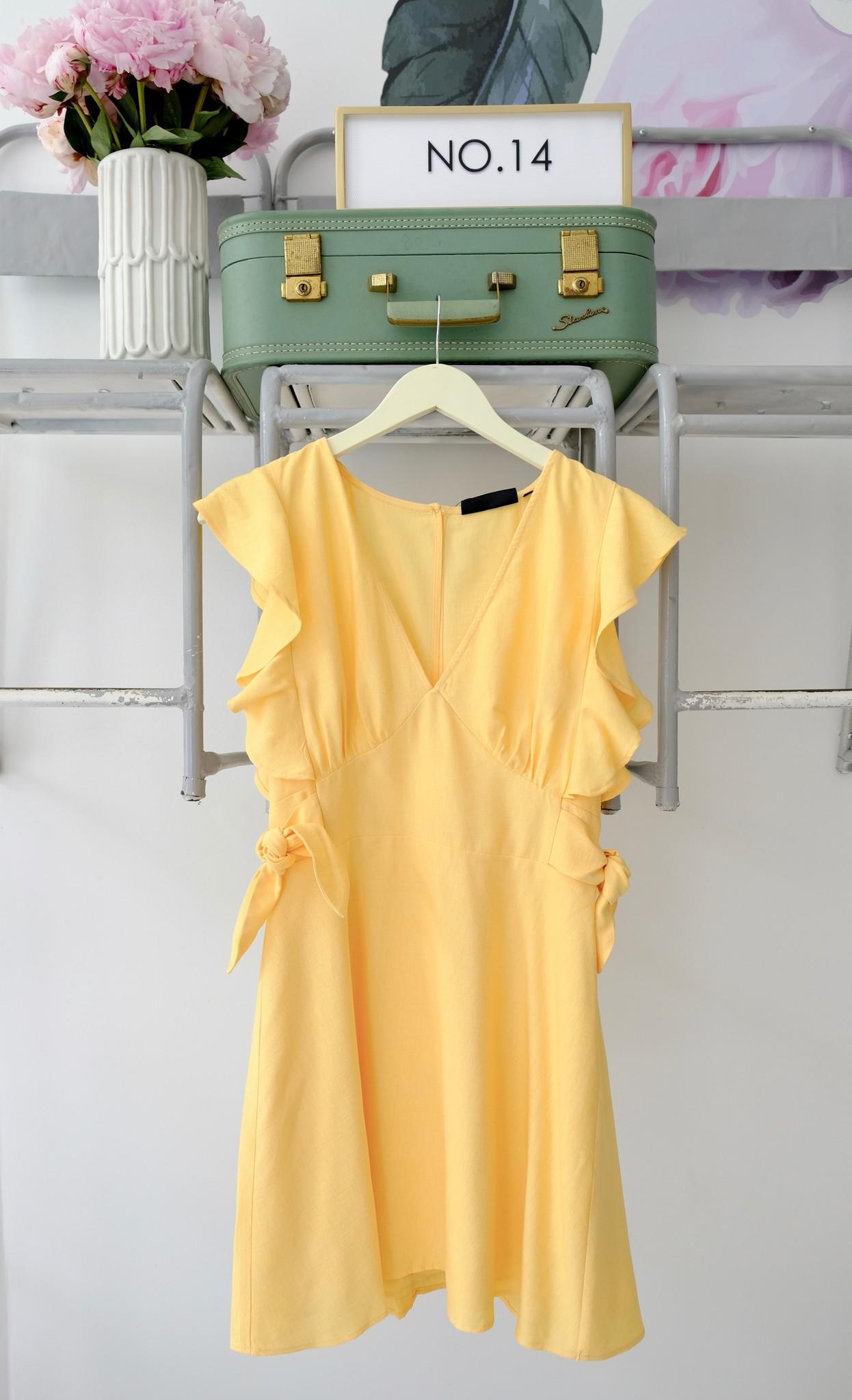 V Neck Ruffle Sleeve Dress