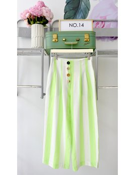 Lime & White Striped Button Pants