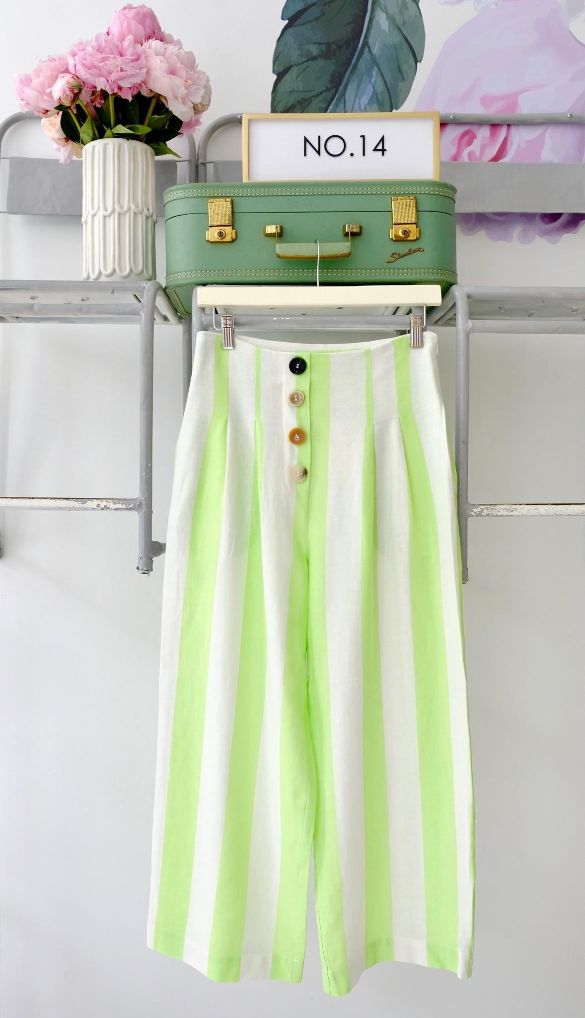 Lime & White Striped Button Pants