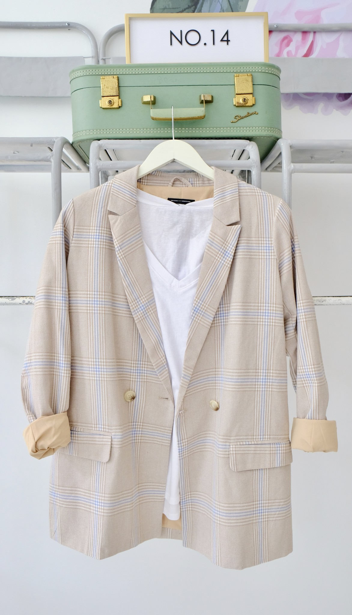 Tan & Blue Check Blazer