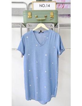 Short Sleeve Polka Dot V Neck Chambray Dress