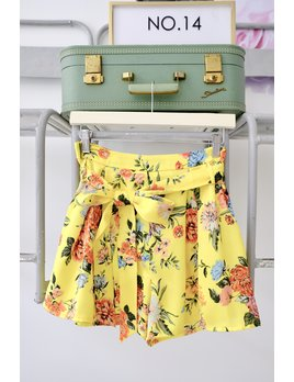 Yellow Floral Tie Belt Shorts