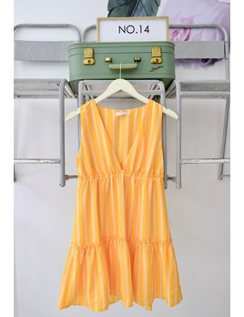 Striped Orange Tiered Dress