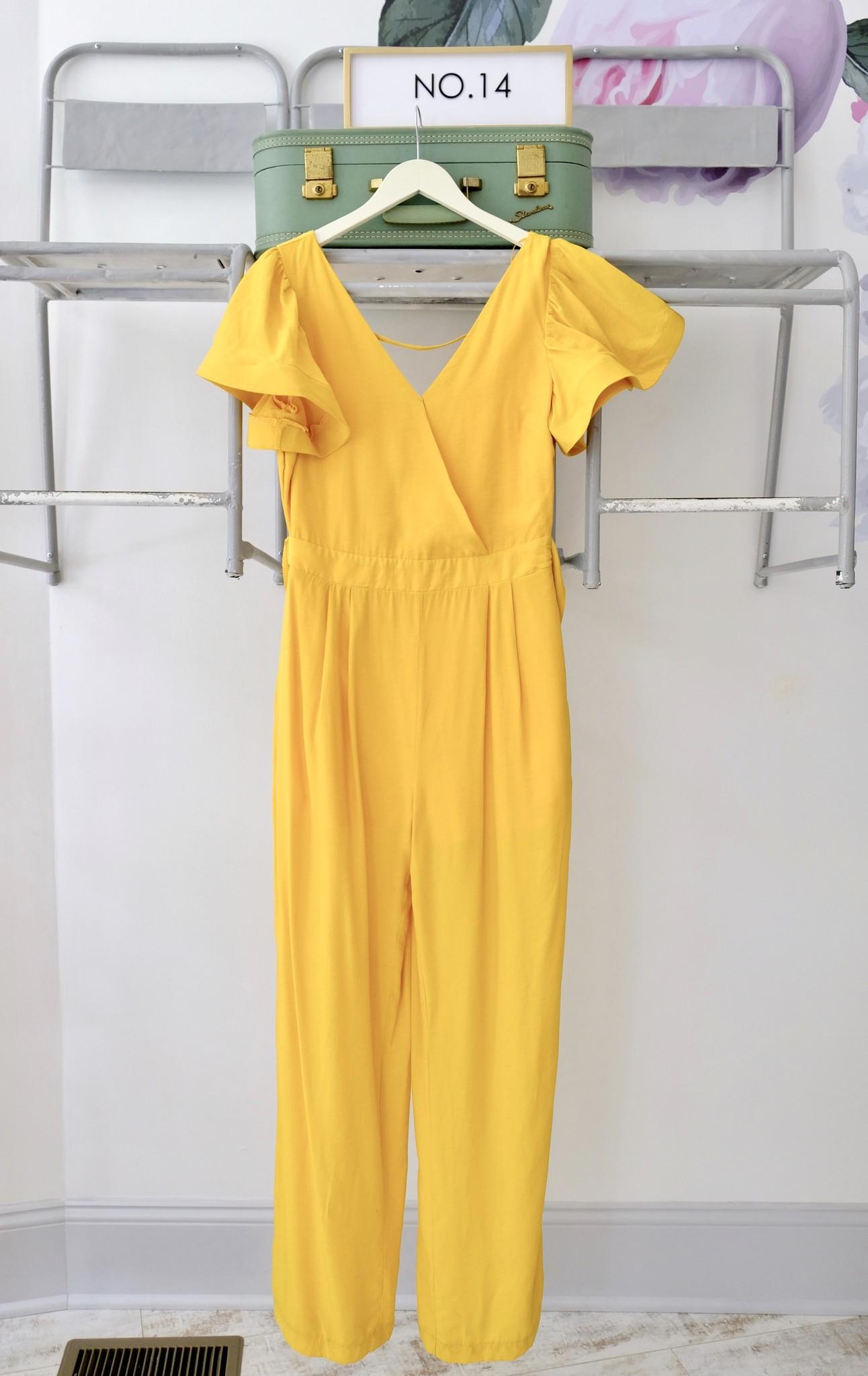 Yellow Flounce Sleeve Jumpsuit