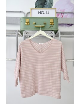 Striped Pink & White Dolman Knit