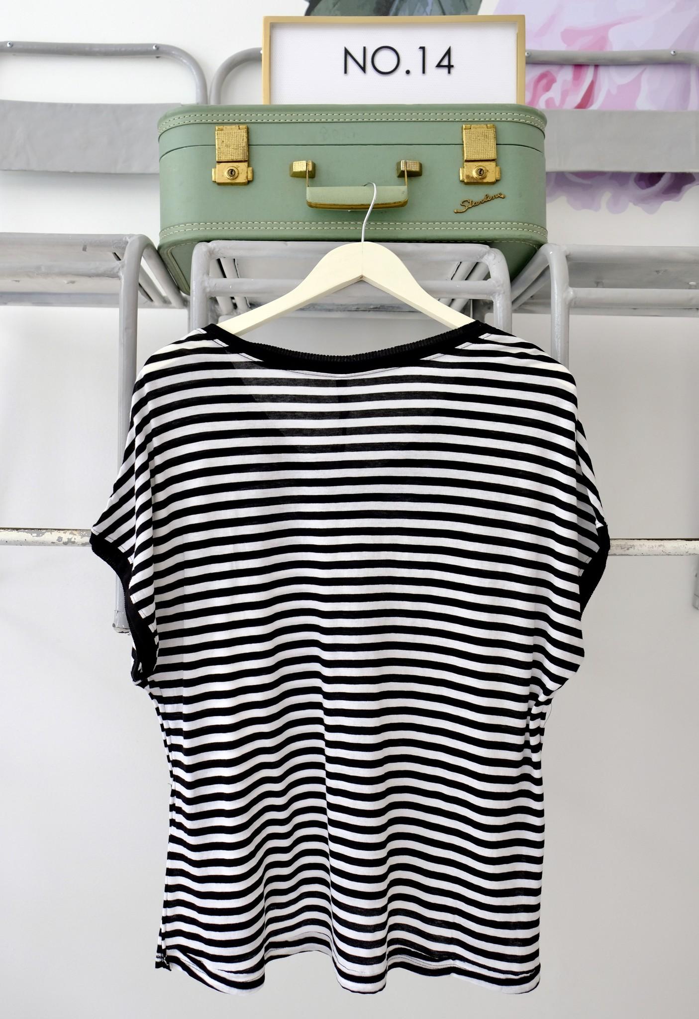 Black & White Striped Boyfriend V Neck Tee