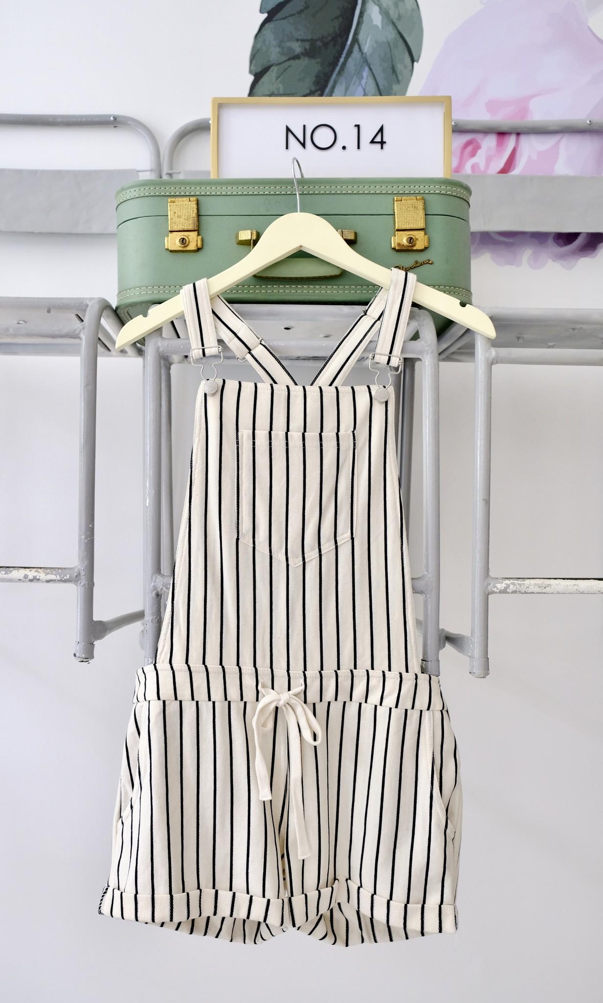Knit Stripe Short Overalls