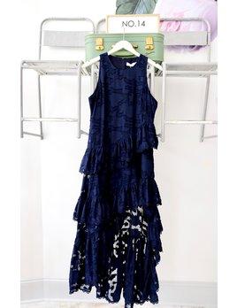 Navy Ruffle Hem Hi-Low Dress