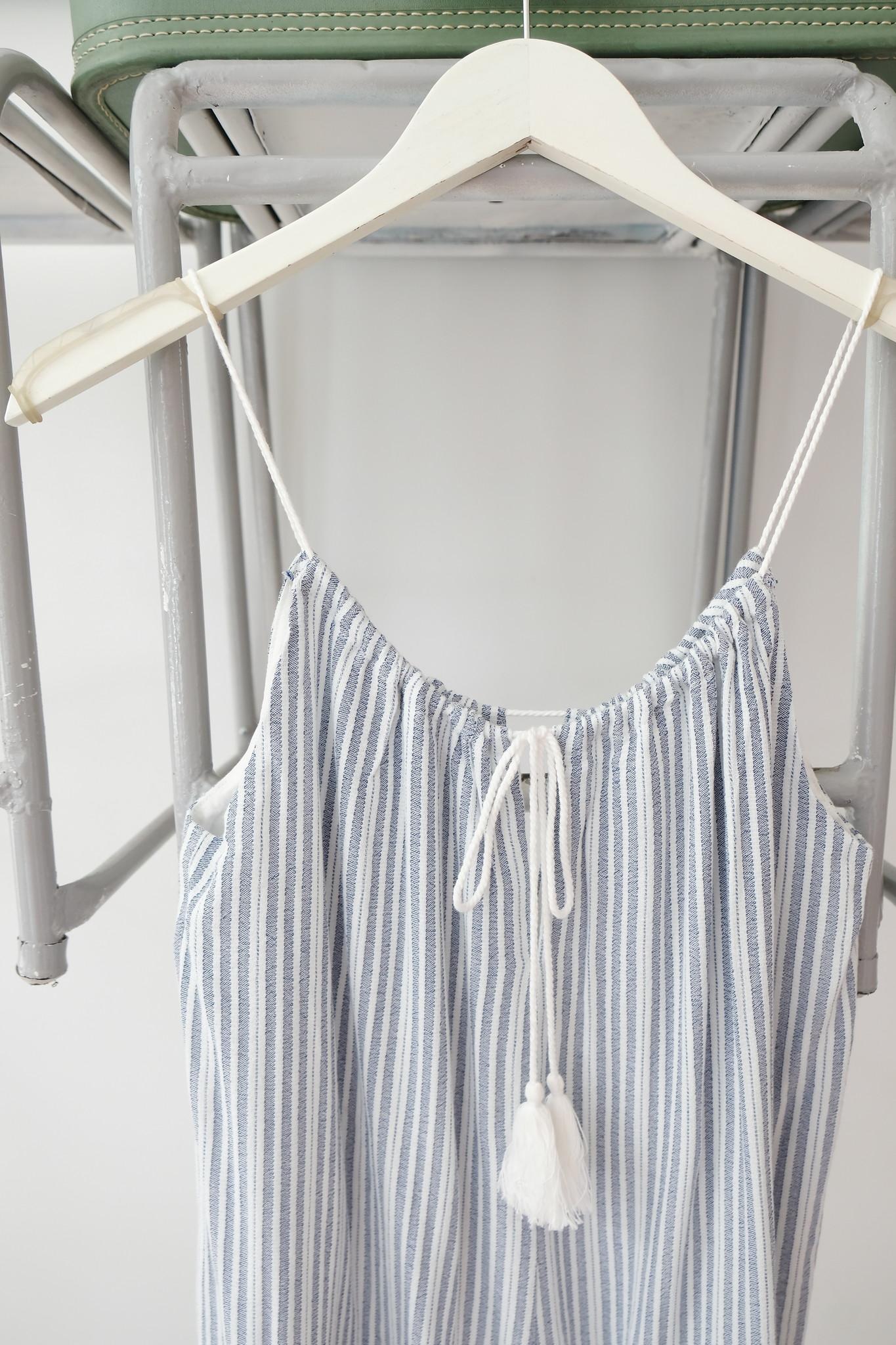 Blue & White Striped Pocket Romper