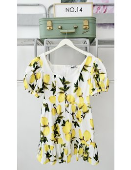 Lemon Print Mini Dress