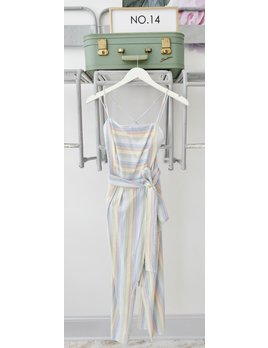 Rainbow Stripe Lace-up Jumpsuit