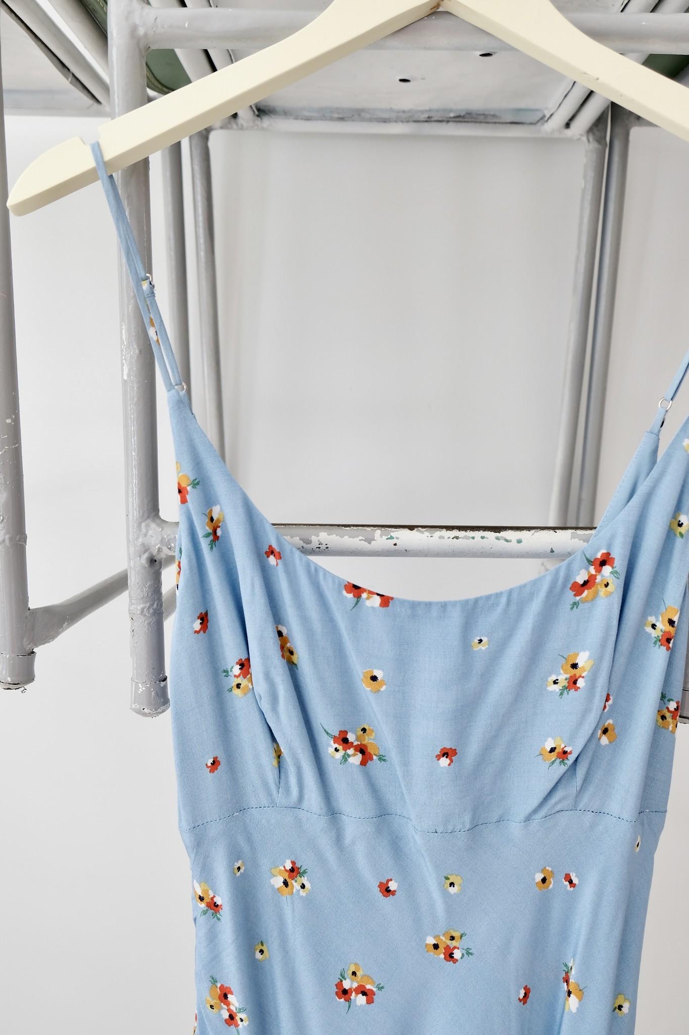 Blue Pansies Midi Dress