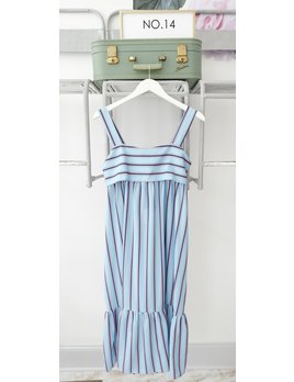 ZHU Blue Stripe Midi Dress