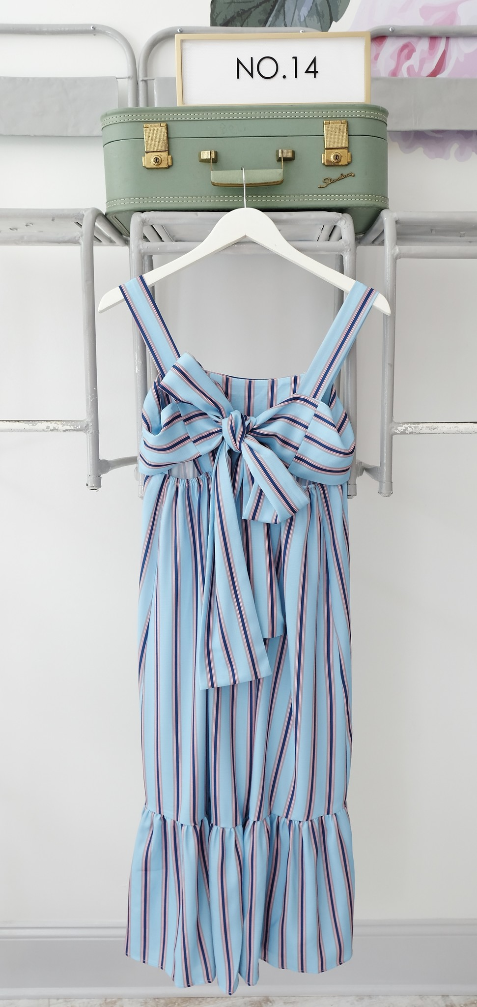 ZHU  Blue Stripe Midi Dress