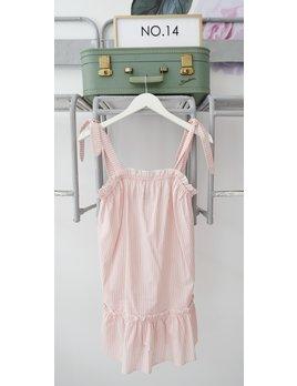 Pink Stripe Tie Strap Drop Waist Dress