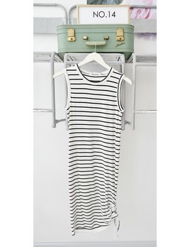 White with Black Stripes Ruche Side Dress