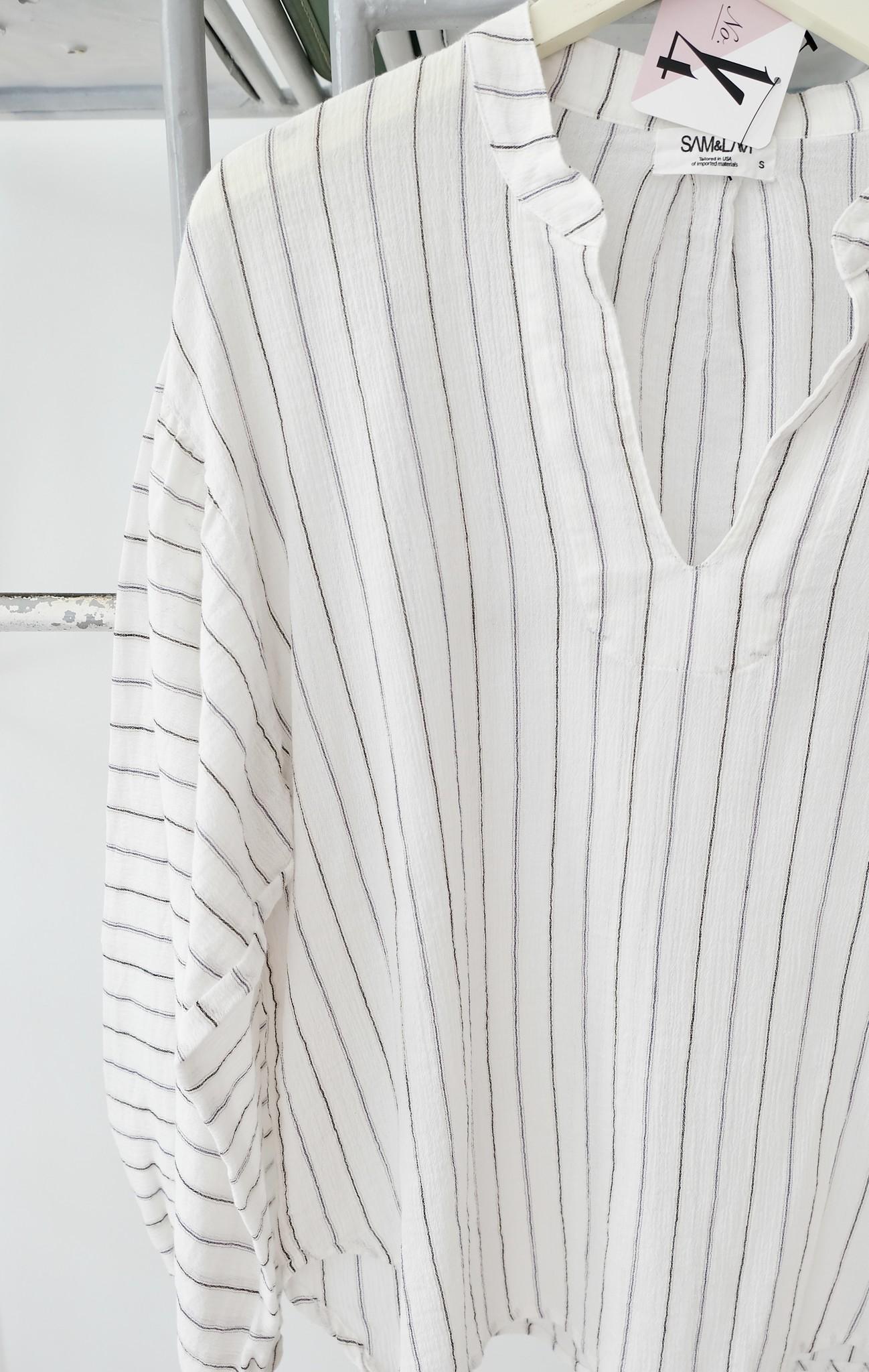 Pin Striped Crinkle Gauze Long Sleeve Top