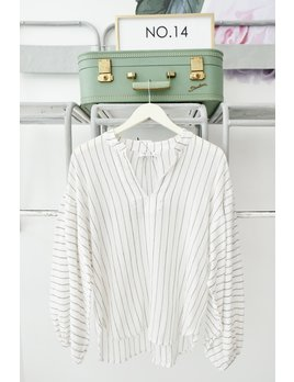 Pin Striped Crinkle Gauze Long Sleeve Top